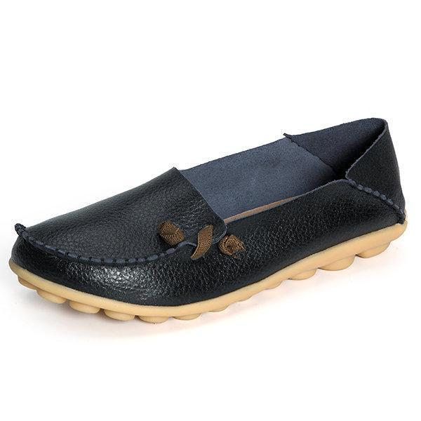 Big Size Soft Multi-Way Wearing Pure Color Flat Loafers herhershoes