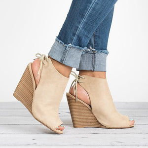 Peep Toe Lace-up Peep Toe Wedges Bootie Women Sandals herhershoes