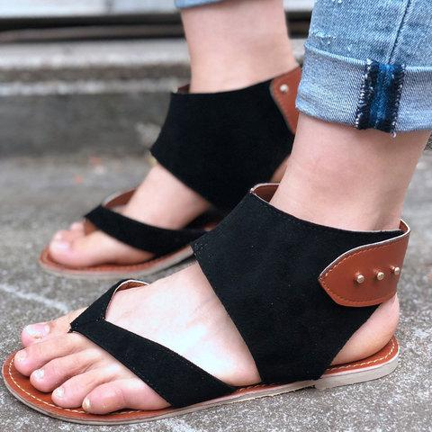 Large Size Buttoned Artificial Nubuck Flat Sandals herhershoes