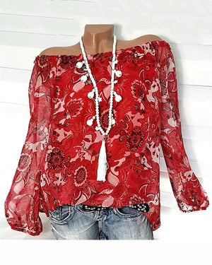 Floral Printed Off Shoulder Plus Size Women Long Sleeve Blouse Tops herhershoes