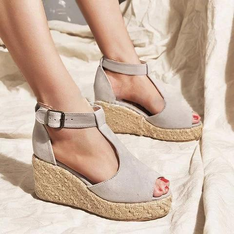 Women T-Strap Espadrilles Wedges Plus Sizes Wedge Sandals herhershoes