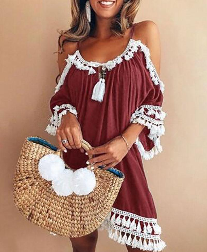 A-line Women Date Elegant Cold Shoulder Solid Summer Fall Dress herhershoes