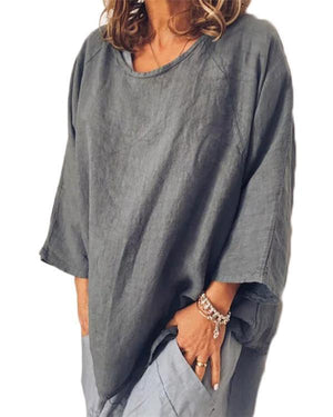 Casual Long Sleeve Crew Neck Linen T-Shirts herhershoes