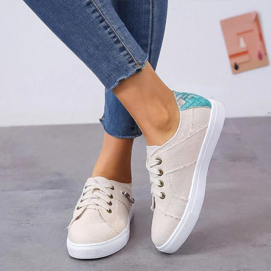 Color Block Flat Round Toe Casual Travel Sneakers herhershoes