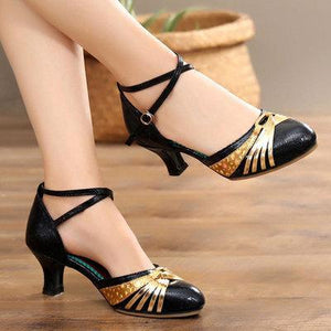 Ladies 3.5cm Rumba Waltz Prom Ballroom Latin Salsa Sequin Appliques Dance Shoes Velvet Sandals herhershoes