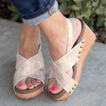 Women Vintage Wedge Sandal Shoes herhershoes
