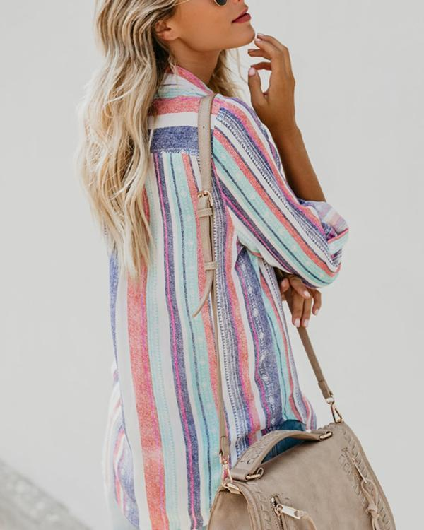 Women Casual Rainbow Striped Button Loose Blouse Tops herhershoes