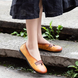 Retro Handmade Leather Slip-on Spring Loafers herhershoes