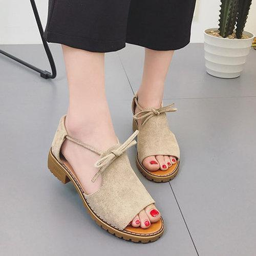 Artificial Suede Lace-up Low Heel Casual Sandals herhershoes