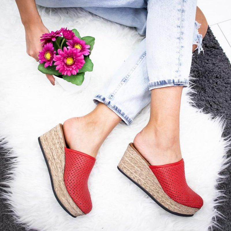 Vintage Hollow-out Closed Toe Wedges Sandals Filler Heel Slippers herhershoes