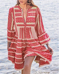 COTTON-BLEND HALF SLEEVE BOHO DRESSES herhershoes