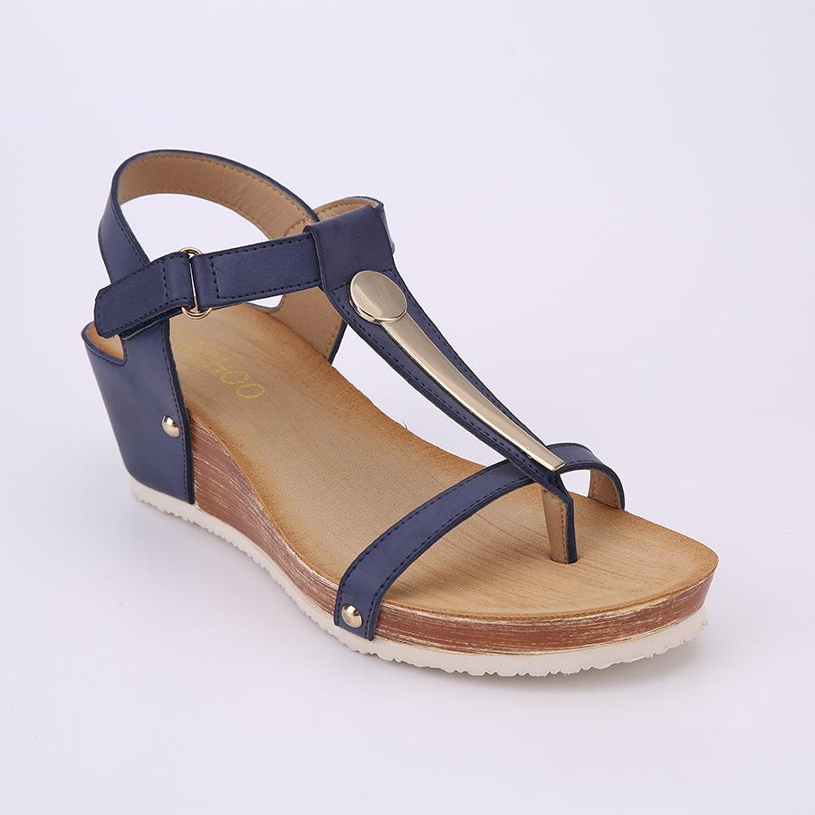 Women T Strap Hook Loop Clip Toe Wedges Heels Sandals herhershoes