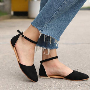 Comfy Pointed Toe Flats Ankle Strap Flat Heel Sandals herhershoes