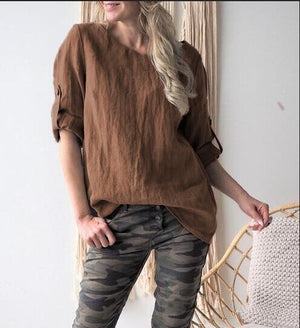 Plus size Simple Style Solid Color Long Sleeve Blouse Tops herhershoes