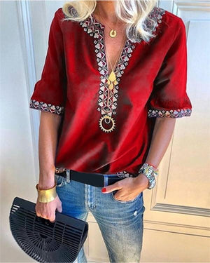 Fashion V-Neck Short Sleeve Casual Shirts Blouses herhershoes