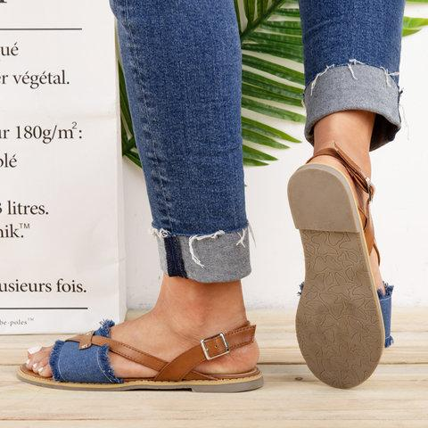 Womens Canvas Casual Flat Heel Buckle Sandals herhershoes