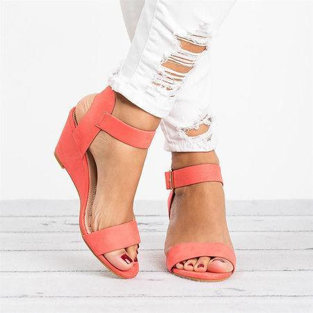 Women Plus Size Wedges Adjustable Buckle Wedge Sandals herhershoes