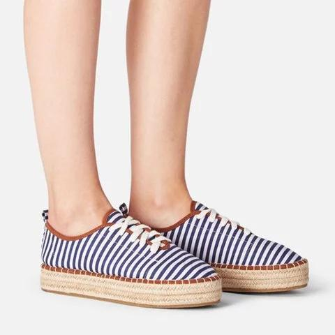 All Season Lace-Up Striped Platform Espadrille Sneakers herhershoes
