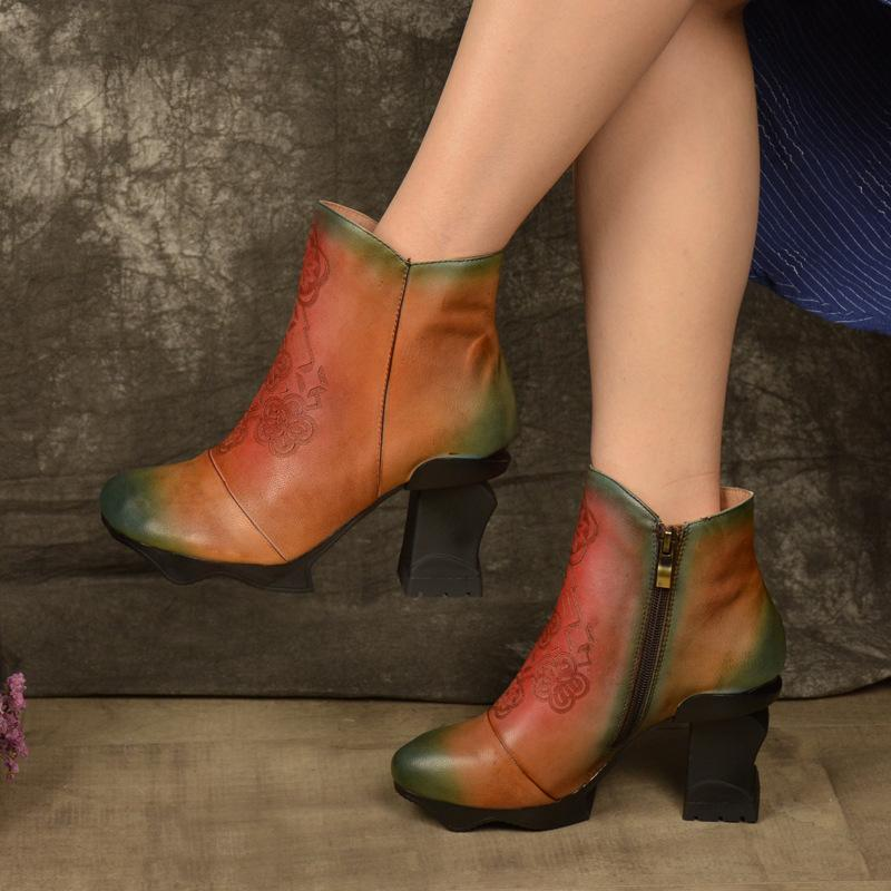 Classical Shaped with High Heel Ankle Boots Leather Boots herhershoes