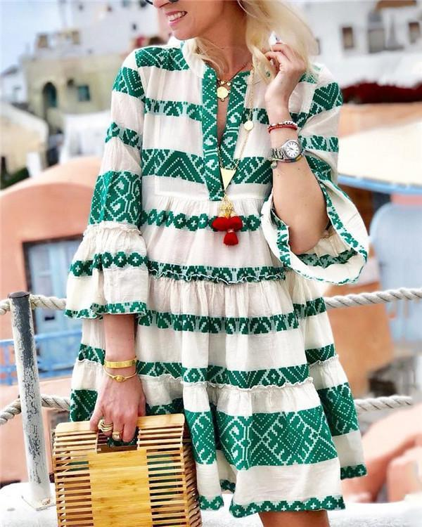 LONG SLEEVE BIG HEM DRESS STRIPED DRESSES herhershoes