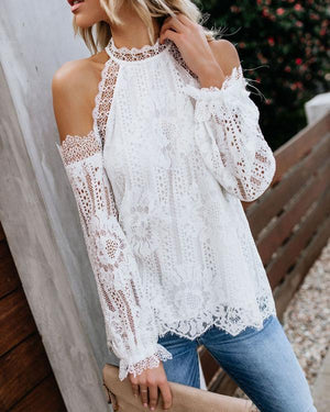 Elegant Lace Long Sleeve Off-Shoulder Shirts Tops herhershoes