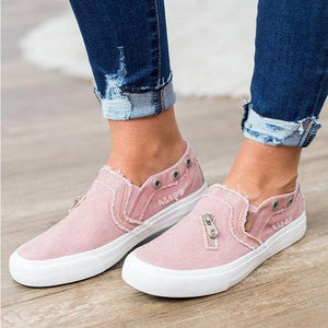 Large Size Zipper Denim Loafers Flats Canvas Shoes Women Casual Slip on herhershoes