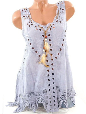 Summer Laciness Sleeveless Sweet Tanks Tops herhershoes