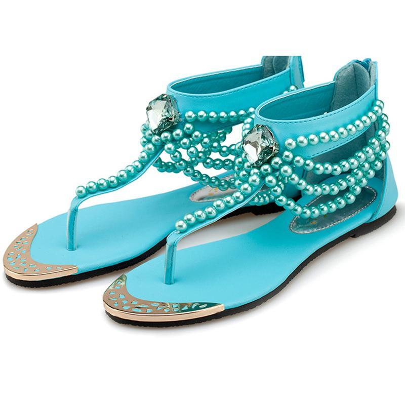 Rhinestone Faux Pearls Embellished Toe Post Sandals herhershoes