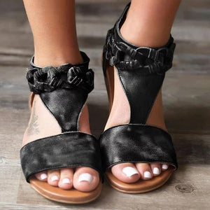 Women Chic Adjustable Buckle PU Sandals herhershoes