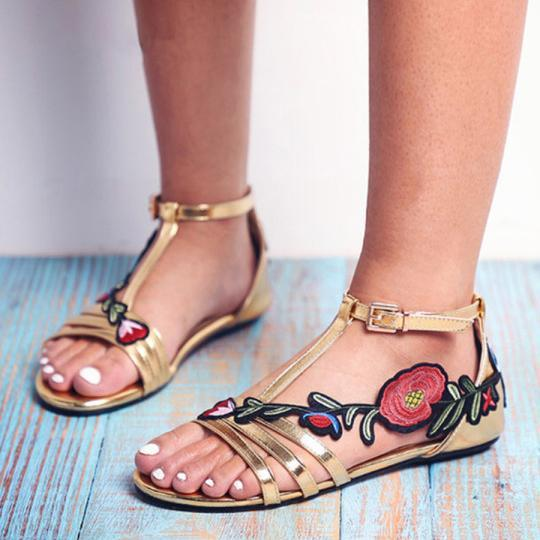 Large Size Women Summer Embroidered Rose Buckle Peep Toe Flat Sandals herhershoes