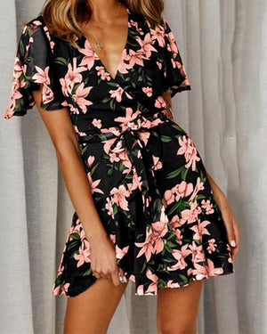 V Neck Printed Short Sleeve Skater Dresses herhershoes