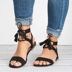 Low Heel Lace-Up Sandals Casual Outdoor Shoes herhershoes