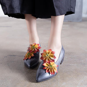 Genuine Leather Flowers Pointed Toe Sandals herhershoes