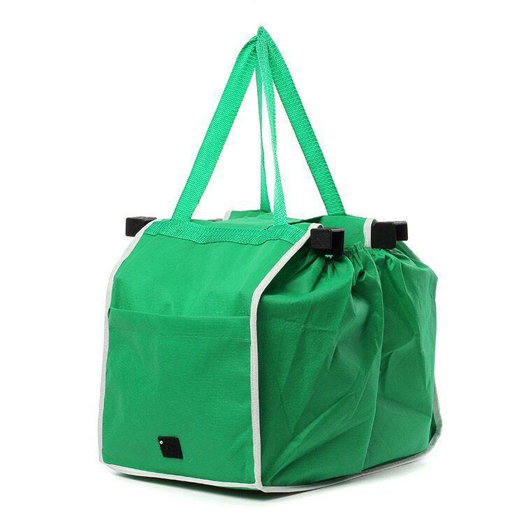Foldable Tote Bag Grocery Grab Bag Fabric Shopping Carrier Clip-To-Cart Ecofriendly herhershoes