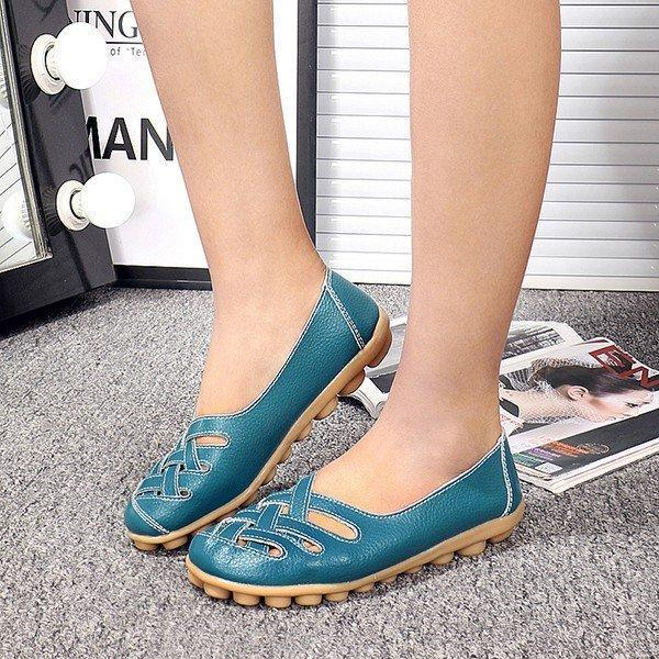 Larger Size Soft Breathable Slip On Hollow Out Flat Shoes herhershoes