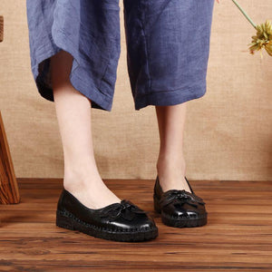 Ethnic Floral Rubber Soft Bottom Slip-on Leather Loafers Shoes herhershoes