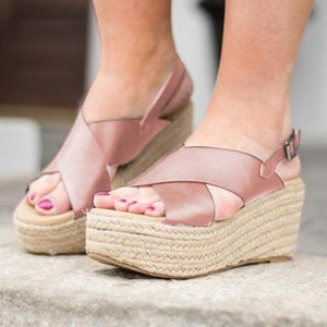 Women Casual Peep Toe Wedges Sandals herhershoes