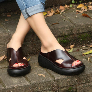 Genuine Leather Peep Toe Wedge Outdoor Sandals herhershoes