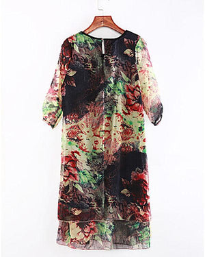 Women's Floral Plus Size Chinoiserie Loose Chiffon Dress herhershoes