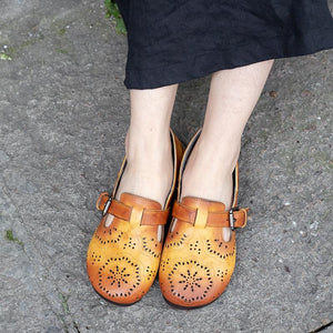 Hollow Low Heel Adjustable Buckle Elegant Loafers herhershoes