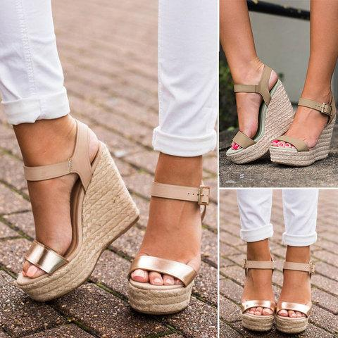 Adjustable Buckle Spring/Fall PU Daily Wedge Heel Sandal herhershoes