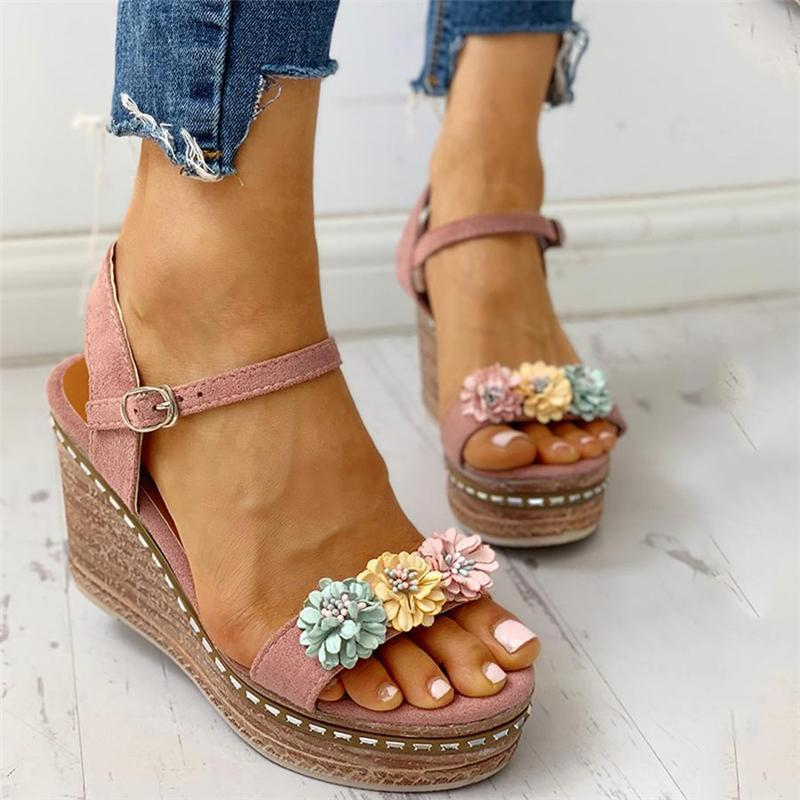 Adjustable Buckle Wedge Sandals herhershoes