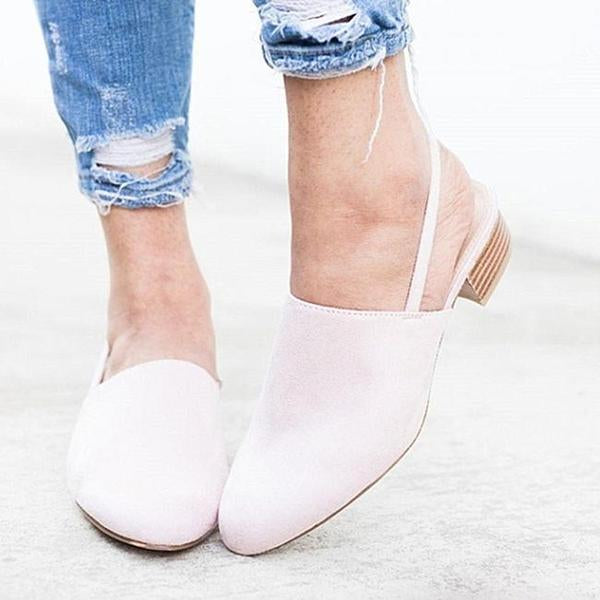 Round Toe Shoes Shallow Square Heels Elastic Band Casual Sandals herhershoes
