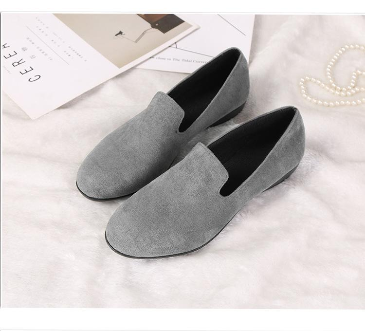 Slip on Comfortable Flat Loafers Simple Pure Color Artificial Suede Round Toe herhershoes