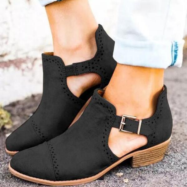 Round Toe Buckle Hollow Chunky Heel Low-Cut Upper Mid-Heel Thin Women Flats herhershoes