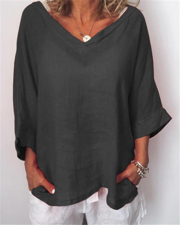 Plus Size Casual Solid V Neck 3/4 Sleeve Blouses herhershoes
