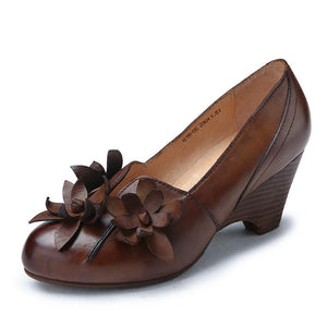 Genuine Leather Flowers Decoration Wedge Sandals herhershoes