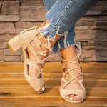 Lace-Up Faux Suede Chunky Heel Sandals herhershoes