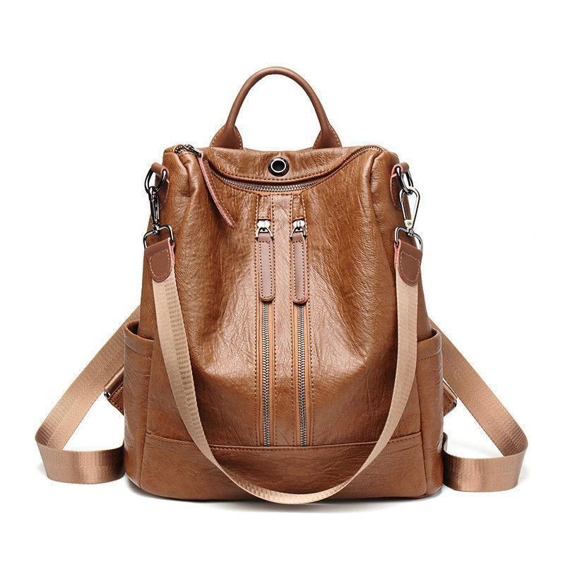 Travel Soft Solid PU Leather Backpack Large Capacity Multi-function herhershoes
