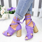 WOMEN FLOCKING PUMPS SANDALS CASUAL LACE UP SHOES herhershoes